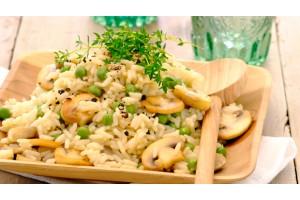 Гъби с ориз и грах