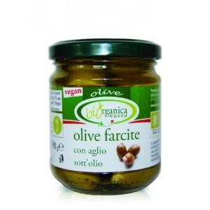 Био зелени маслини с чесън